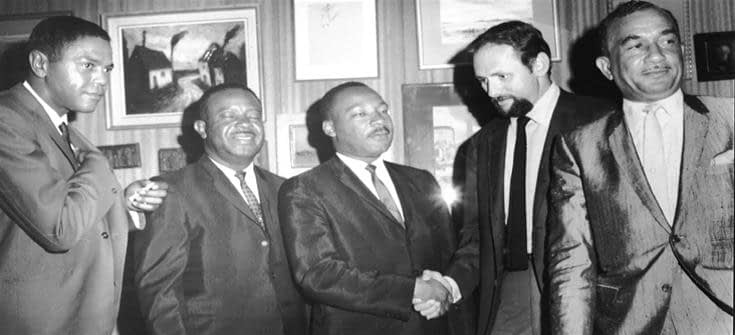 [L-R] Disc Jockey Georgie Woods, Rev. Ralph Abernathy-SCLC, Dr. Martin Luther King Jr., Bob Klein-WDAS General Manager, Cecil Moore, Esq. Philadelphia NAACP, during signing ceremonies in Klein's office at WDAS Radio