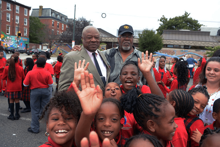 Walt Palmer with Charter School Students