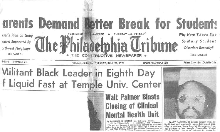 The Philadelphia Tribune Article: Walt Palmer Blasts Closing of Clinical Mental Health Unit